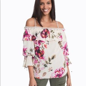 WHBM OFF-THE-SHOULDER FLORAL DRAMA SLEEVE BLOUSE M